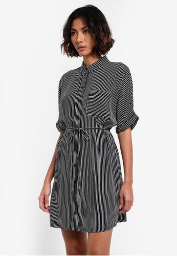 TOPSHOP black Petite Kady Stripe Shirt Dress TO412AA0RY3IMY_1