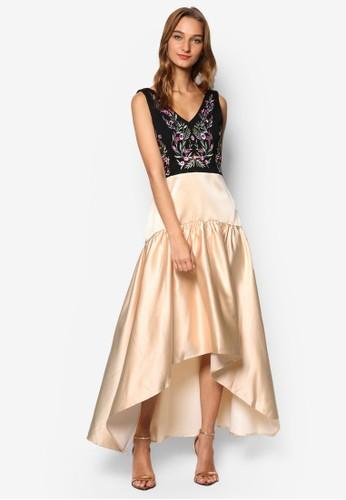 zalora 折扣碼Tania 繡花V領無袖連身裙, 服飾, 晚宴禮服