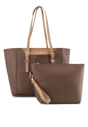 Bagstationz brown Bagstationz Duo-Tone Tote Bag Set of 2 BA607AC86DMFMY_1