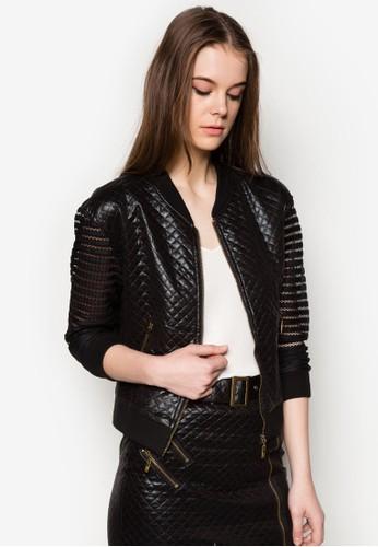 菱格拼接仿皮棒球zalora taiwan 時尚購物網外套, 服飾, 夾克 & 大衣