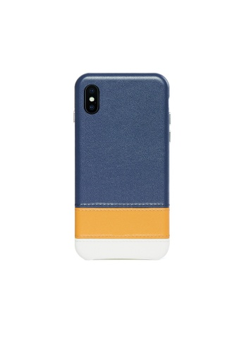 OBX blue Lavender iPhone Xs Max Striped Leather Snap-On Case FA511AC761B441GS_1