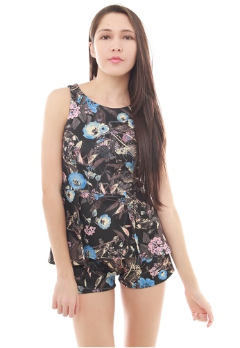 Leline Style black and multi Tina Floral Playsuit LE802AA39IHGSG_1