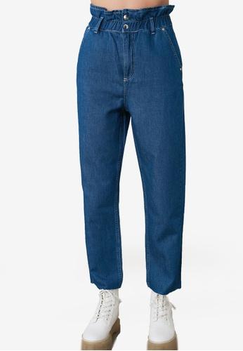 Trendyol blue Elastic High Waist Straight Cut Jeans 8C9CCAAE5AF29CGS_1