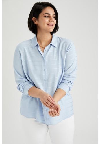 DeFacto blue Woman Woven Long Sleeve Shirt A28E5AAEFF50B5GS_1