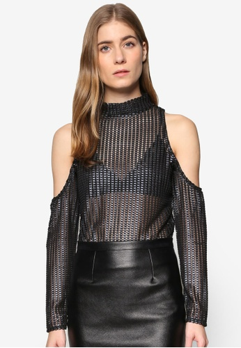 TOPSHOP black Textured Metallic Top TO412AA91YLGMY_1