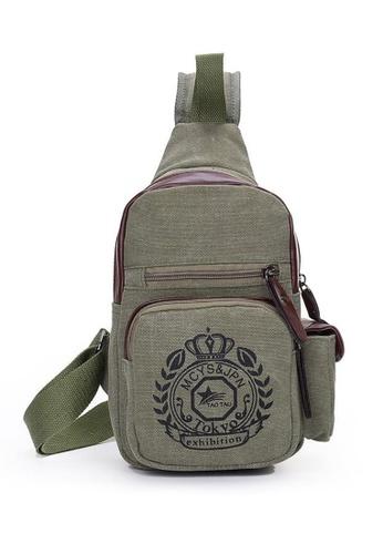 Jackbox green Korean Fashion Canvas Badge Design Sling Shoulder Messenger Bag 342 (Army Green) JA762AC0RNENMY_1