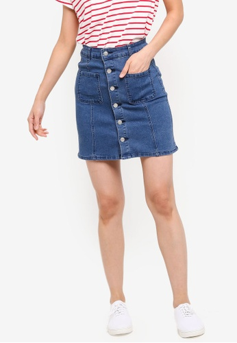 ZALORA BASICS blue Basic Denim Button Detail Skirt 3D977AA6D5B07BGS_1