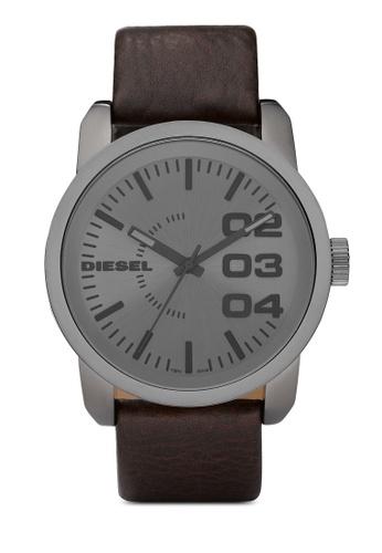 Diesel grey Diesel Double Down 46 Dark Brown Leather Watch DZ1467 DI095AC68AXFMY_1