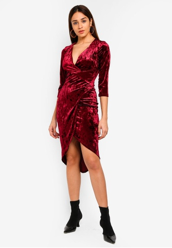 TFNC red Tallia Velvet Long Sleeve Midi Dress 0A063AA4CD61A0GS_1