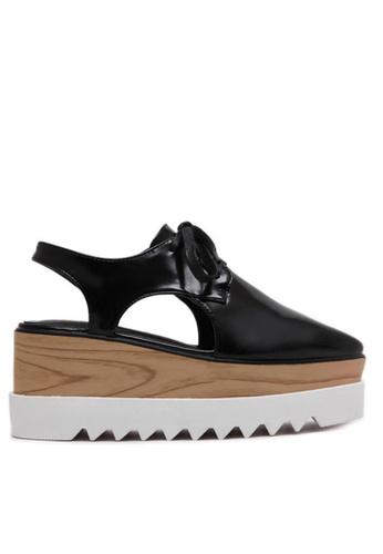 Twenty Eight Shoes black Wood Platform Cutout Derbies TW446SH04IUHHK_1