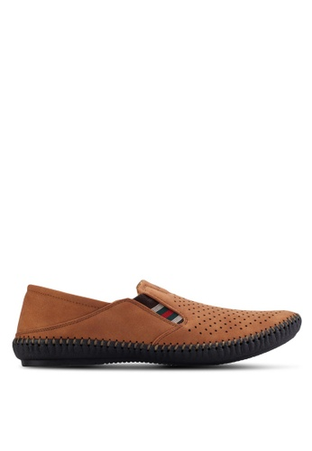 Louis Cuppers brown Perforated Slip Ons LO977SH83AVCMY_1