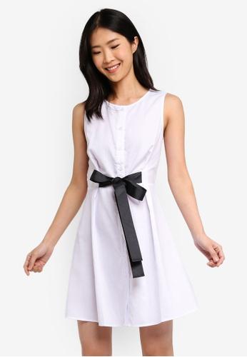 ZALORA BASICS white Basic A-Line Dress With Tie Waist 56DA7AA5552408GS_1