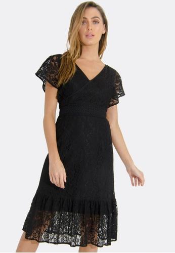 FORCAST black Valerie V-Neck Lace Dress E08FBAA267D98DGS_1
