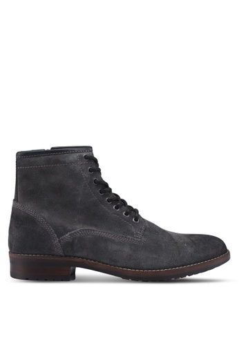 Burton Menswear London grey Grey Suede Lace Up Boot With Cleated Sole C2054SHA8766A0GS_1