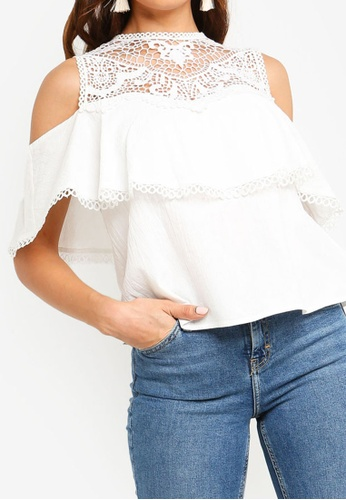 ZALORA white Cold Shoulder Top with Trims 92923AAA5030CFGS_1