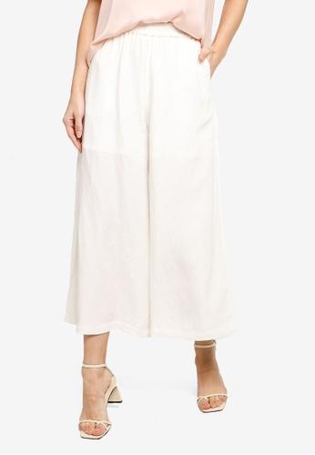 Hopeshow white Wide Leg Capri Pants 518B1AAE90B84EGS_1