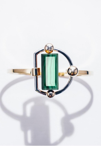 Paradeisos Jewellery green and silver and gold TheArch Natural Malachite Bangle 66B4EAC5919FAAGS_1
