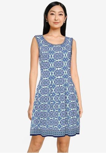 Max Studio blue Knit Sleeveless Pleated Dress 3C15BAAB79755EGS_1