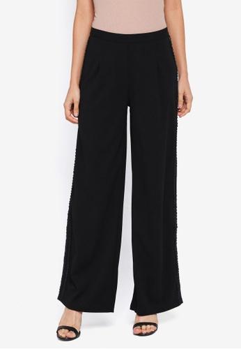 Lubna black Side Ribbon Straight Cut Pants 001B5AA27AE552GS_1