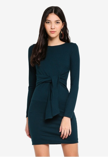 Miss Selfridge green Long Sleeve Knot Front Mini Dress CEF25AA5AB48FDGS_1