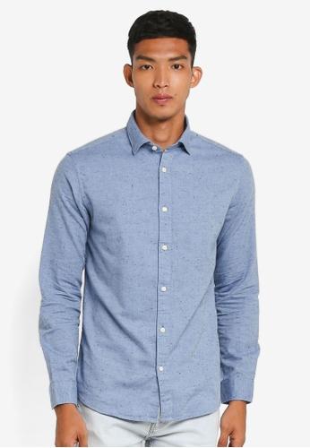 Selected Homme 藍色 長袖紋理襯衫 A0113AA2343B9CGS_1