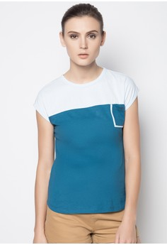 Extended Sleeved Basic Tee with Cut and Sew Detail