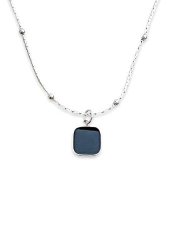 Trinkets for Keeps silver Black Enamel Minimalist Necklace 2206AAC3793E48GS_1