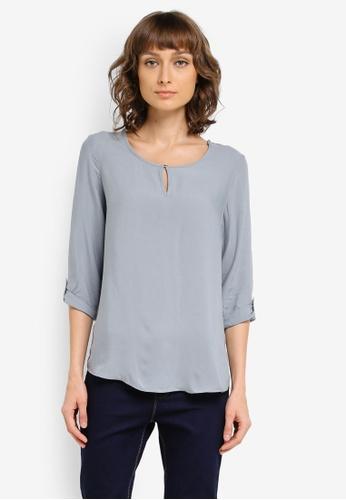 Vero Moda grey Buci 3/4 Fold-Up Sleeve Top VE975AA0SKQ0MY_1