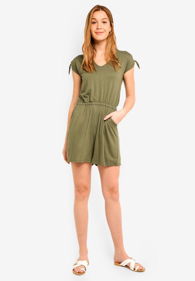 Sleeve Green Khaki Playsuit Perkins Tie Dorothy XwOWtqgxCp