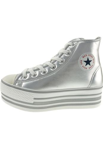 Maxstar 銀色 新款韩国鞋C50-7H-TC時尚合成物質布混合女銀色 US Women Size MA345SH80GTZTW_1