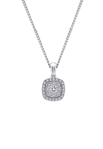 "MaBelle silver 18K White Gold Classic Diamond Cushion Shaped Cluster Pendant with Sterling Silver Chain (16"") MA584AC2W73AHK_1"
