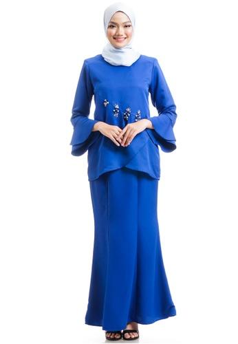 Ashura blue Kenisha Kurung With Layered Flare C95B8AA060A2BEGS_1