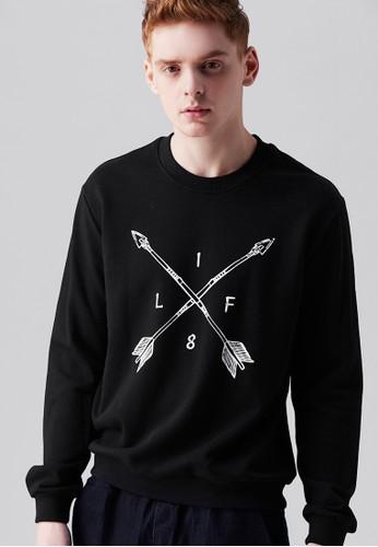 esprit hong kong 分店美式休閒。兩韌相交。刷毛印花圓領T-MIT-03712-黑色, 服飾, 長袖T恤