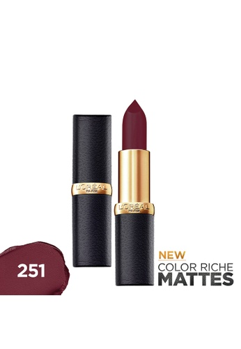 L'Oréal Paris red Color Riche Mattes 251 Blackberry Hue Matte Lipstick DFA26BEDE121C1GS_1