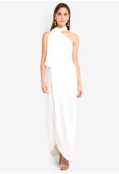 b1bedeb69eb Elle Zeitoune white Satin High Neck Gown With Sash Overlay And Side Split  C09DDAA4B144A0GS 1