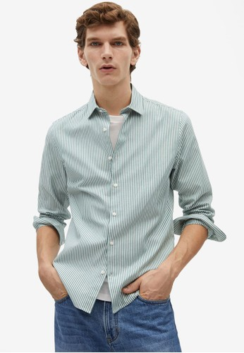 Mango Man beige Slim Fit Striped Cotton Shirt 70292AA28C694FGS_1