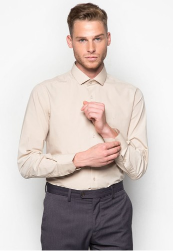 素色合身長袖襯衫, esprit分店地址服飾, 襯衫