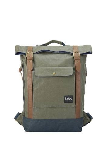 G.ride green and navy Balthazar Backpack 7948BAC9B220ECGS_1