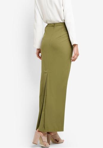 Tsyahmi for ZALORA green Back Pleat Pencil Skirt TS528AA15ZBOMY_1