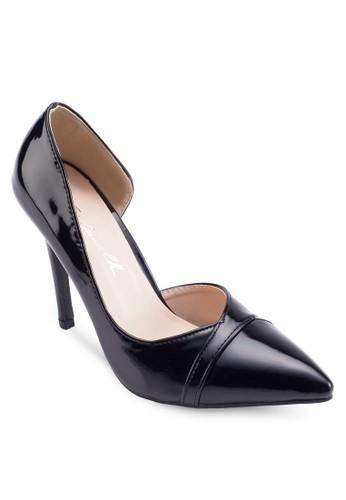 側鏤空漆皮高跟鞋,esprit 會員 女鞋, 鞋