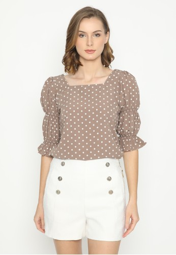 Mannequin beige Square Polkadot Blouse 447C0AA8024B60GS_1