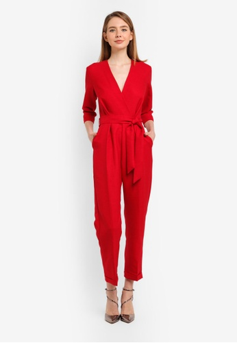 CLOSET red Cross Over Jumpsuit 4AE1BAAA67A015GS_1