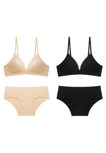 K.Excellence black Premium Comforn Gold&Black Lingerie Set (Bra and Underwear) FA224US328598EGS_1