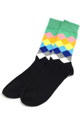 Splice Cufflinks multi Jewel Series Multi Colour Checked Design Socks SP744AA89JAWSG_1