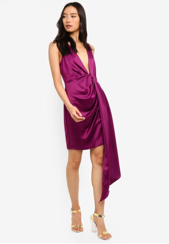 382ffe799f Buy MISSGUIDED Satin Plunge Drape Mini Dress Online