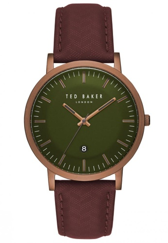 TED BAKER red and green Ted Baker DAVID - Olive Green Dial with Brown/Red Leather Strap & Maroon Accents (TE15193002) 87A92AC4AD46D6GS_1