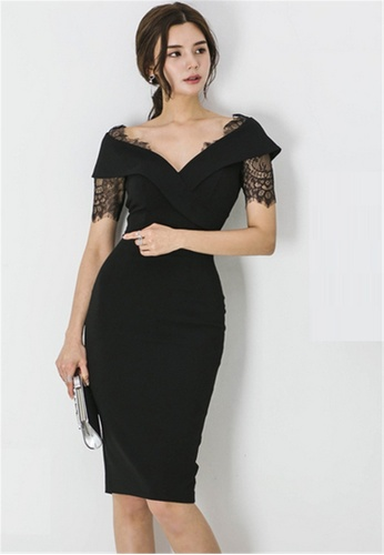 Crystal Korea Fashion black New Temperament Slim V-neck Lace Dress  15B68AAB1CC95AGS 1 f209bdeda