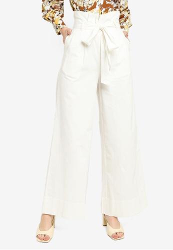 Zalia white Belted Wide Leg Pants 85FF5AA7EF1F61GS_1