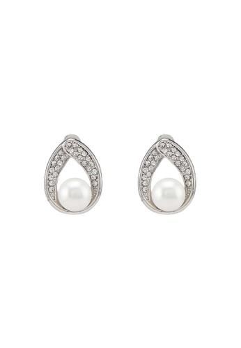 Dandelion silver Teardrop Rhinestone Pearl Earrings 7C09FACF1CA5B3GS_1