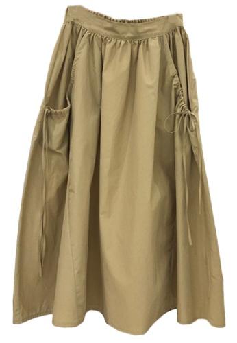Sunnydaysweety green Band-Waist A-Line Midi Skirt A21032012GR 0F211AA4D0F4ABGS_1